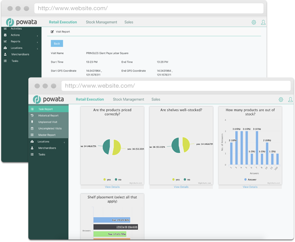 optim merchandising app screenshot - retail execution report